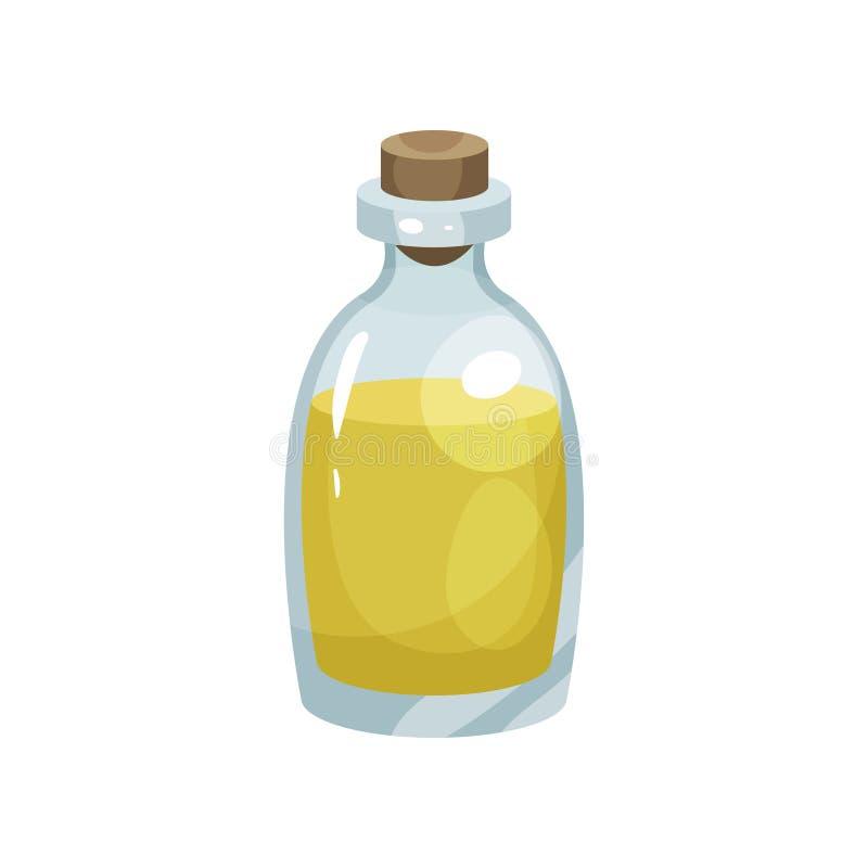 Garrafa de vidro transparente com óleo saudável da colza Conceito do produto fresco e natural Projeto liso do vetor para ilustração stock