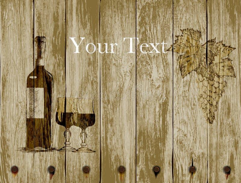Garrafa de vidros e de uvas de vinho tinto em um fundo de madeira Mão desenhada ilustração royalty free