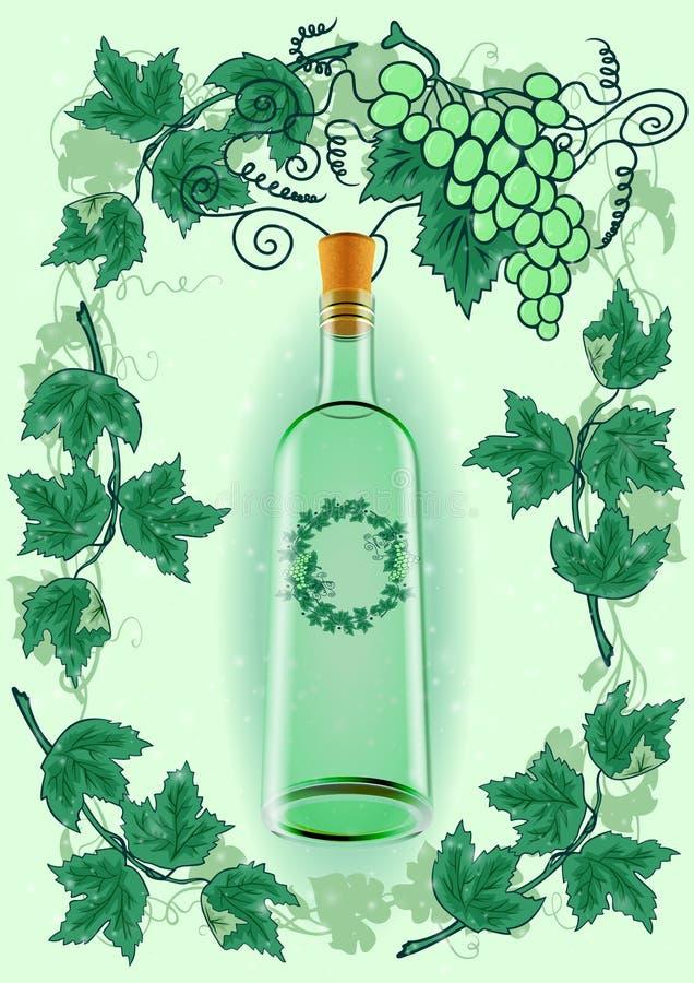 Garrafa de vinho com quadro da uva ilustração stock
