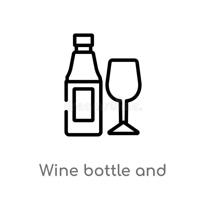 garrafa de vinho do esboço e ícone de vidro do vetor linha simples preta isolada ilustração do elemento do conceito do alimento V ilustração do vetor