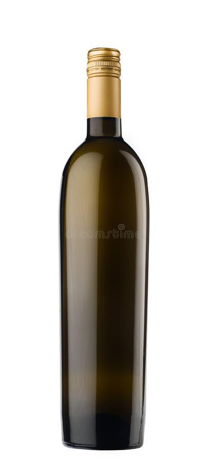 Garrafa de vinho preta escura com o tampão de parafuso de bronze no fundo branco fotografia de stock royalty free