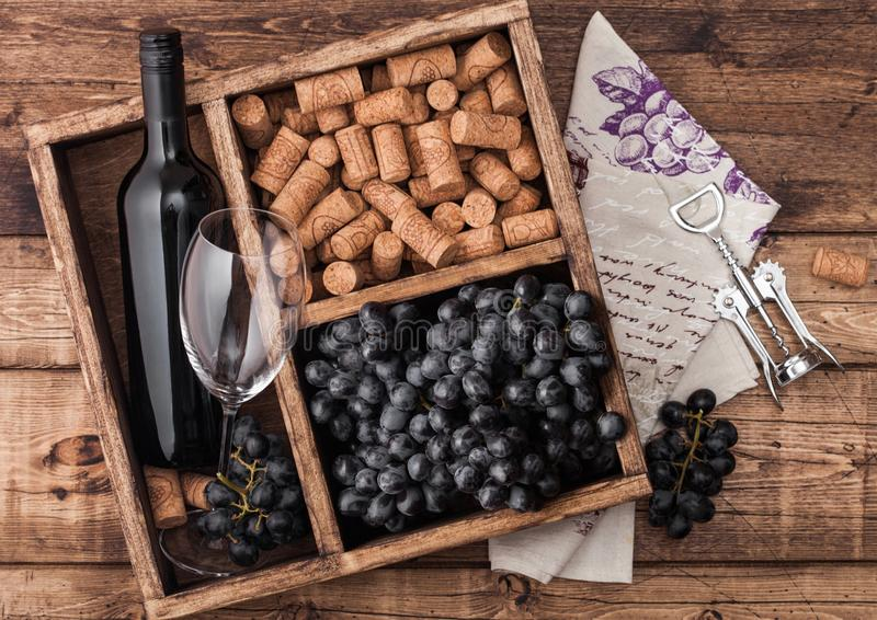 Garrafa de vinho tinto e de vidro vazio com uvas escuras com rolhas e opener no interior de uma caixa de madeira vintage sobre fu imagens de stock
