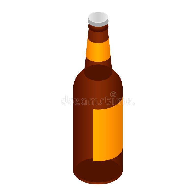 Garrafa do ícone da cerveja, estilo isométrico ilustração stock