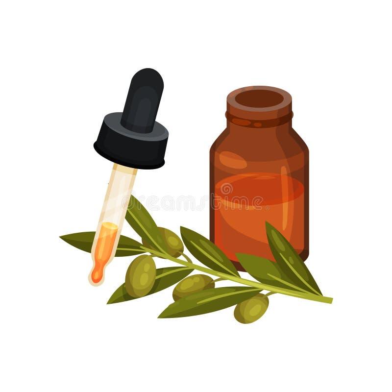 Garrafa do óleo, da pipeta e do ramo pequeno com azeitonas verdes e folhas Cosmético natural dos cuidados com a pele Ícone liso d ilustração royalty free