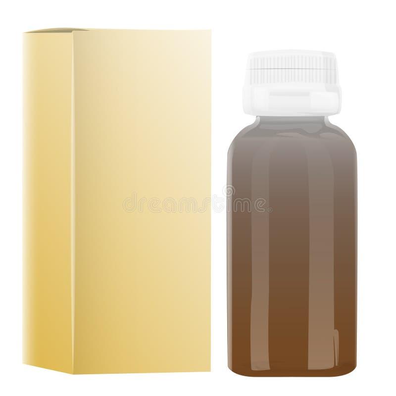 Garrafa do empacotamento plástico da placa com o tampão para o vetor dos comprimidos isolado no branco ilustração royalty free