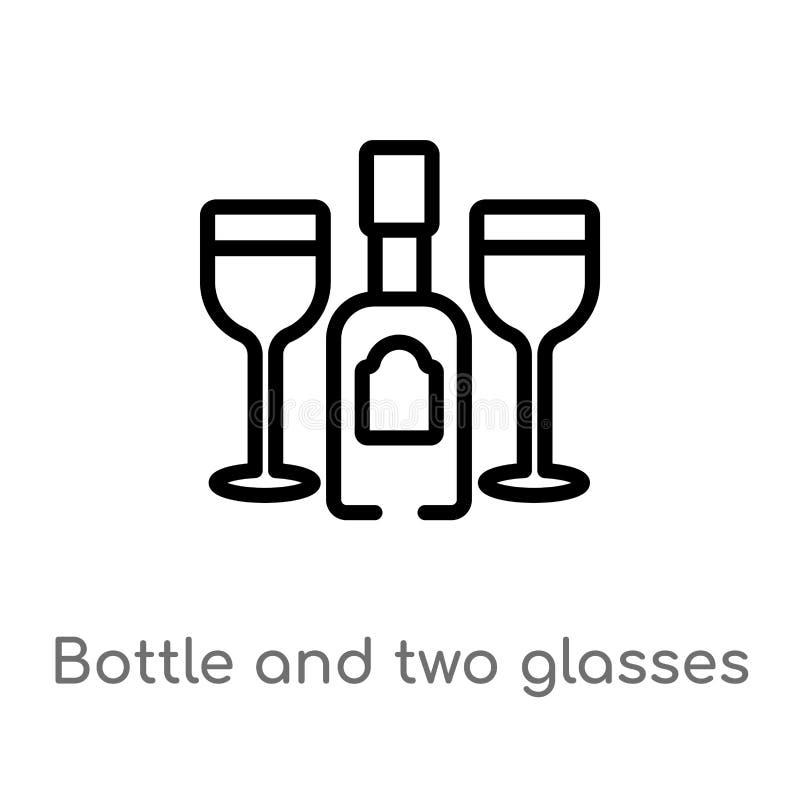 garrafa do esboço e dois vidros do ícone do vetor linha simples preta isolada ilustração do elemento do conceito do partido Vetor ilustração royalty free