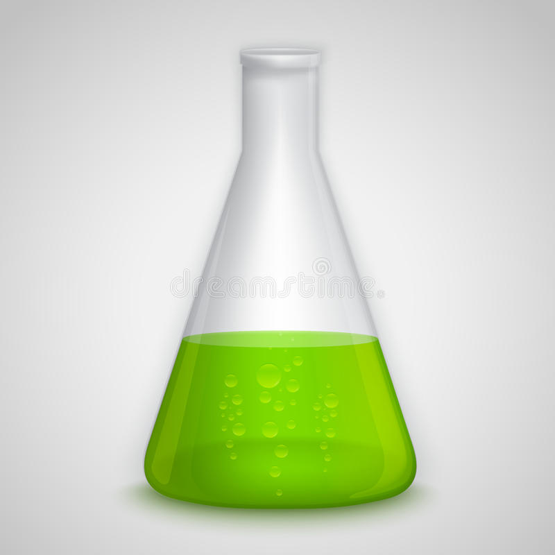Garrafa do laboratório com líquido verde ilustração do vetor