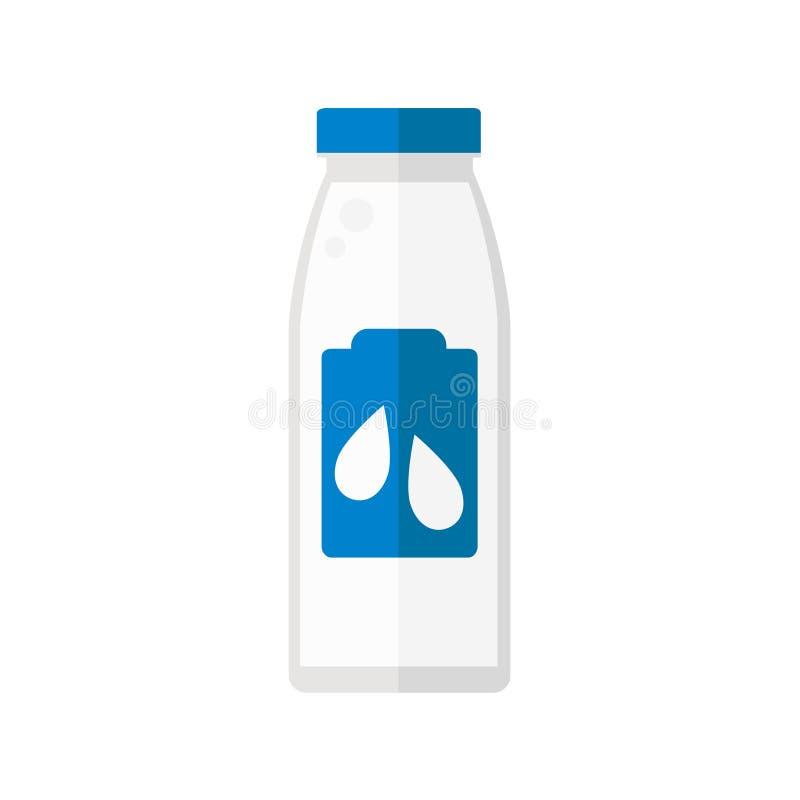 A garrafa do leite isolou o ícone no fundo branco ilustração do vetor