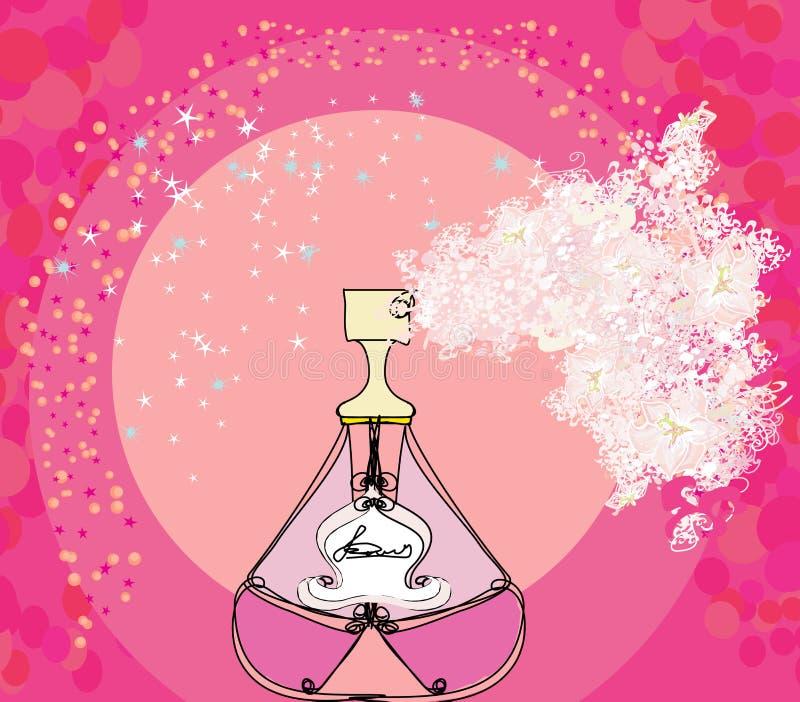 Garrafa do perfume com um aroma floral ilustração stock