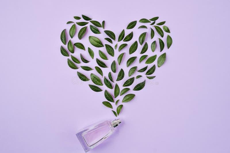 Garrafa do perfume e das folhas verdes arranjados na forma do coração sobre o fundo violeta Mola ou fragrância delicada do verão  imagens de stock royalty free