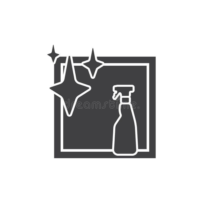 Garrafa do pulverizador e ícone isolado janela ilustração do vetor