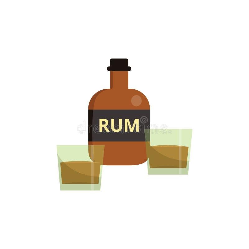 Garrafa do rum dos desenhos animados com dois vidros da metade enchida com o líquido marrom do álcool ilustração stock