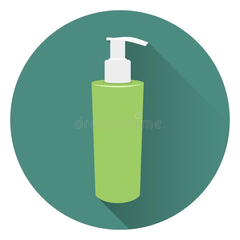 Garrafa do sabão líquido ou do creme de corpo Espuma para um banho Em um fundo verde circular com uma sombra Estilo liso, ícone ilustração royalty free