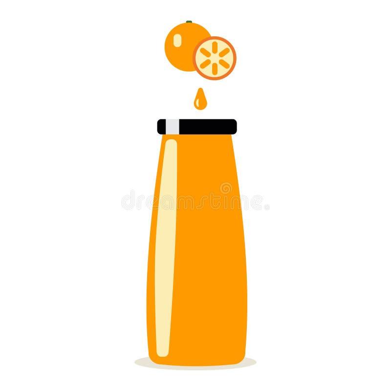 Garrafa do suco de laranja e da laranja no fundo branco ilustração stock