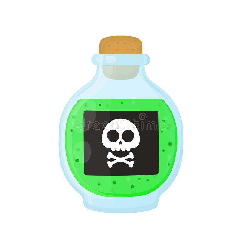Garrafa do veneno tóxico verde ácido mágico ilustração royalty free