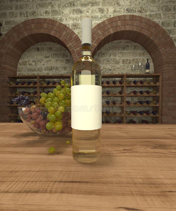 Garrafa do vinho branco com uvas ilustração do vetor