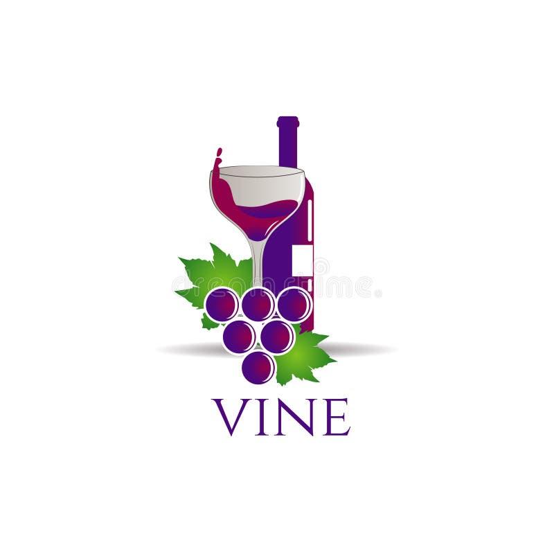 Garrafa do vinho com uva Logo Sign Symbol Icon imagens de stock royalty free