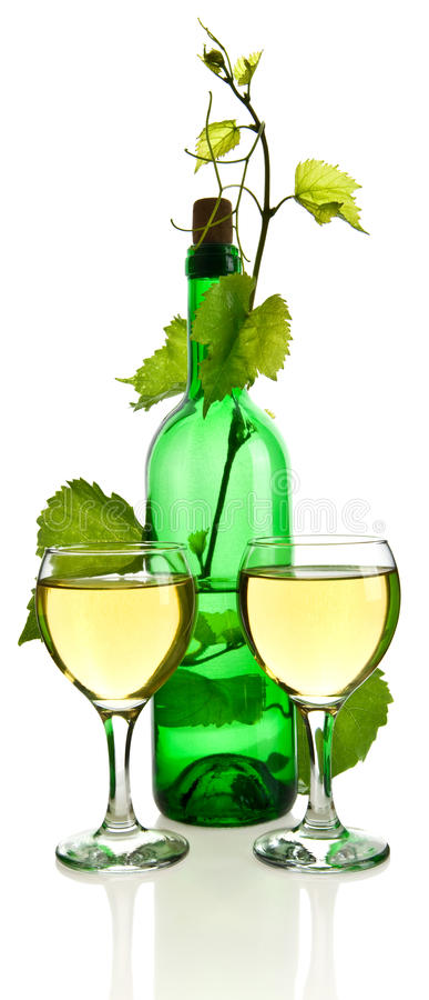 Garrafa do vinho e dos vidros imagens de stock royalty free