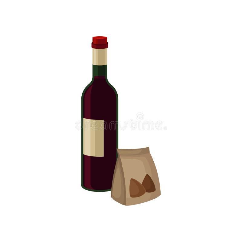 Garrafa do vinho tinto e das porcas no saco de papel pequeno Bebida alcoólica Loja de bebidas Elementos lisos do vetor para a ban ilustração royalty free