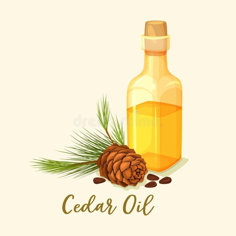 Garrafa dos produtos vidreiros com o cone do óleo e do pinho do cedro ilustração do vetor