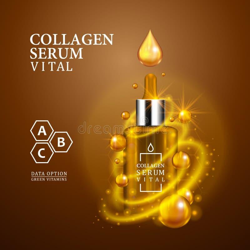 Garrafa dourada do conta-gotas do soro vital na luz - fundo marrom Opinião realística da garrafa com gotas e brilhos vitais mágic ilustração do vetor