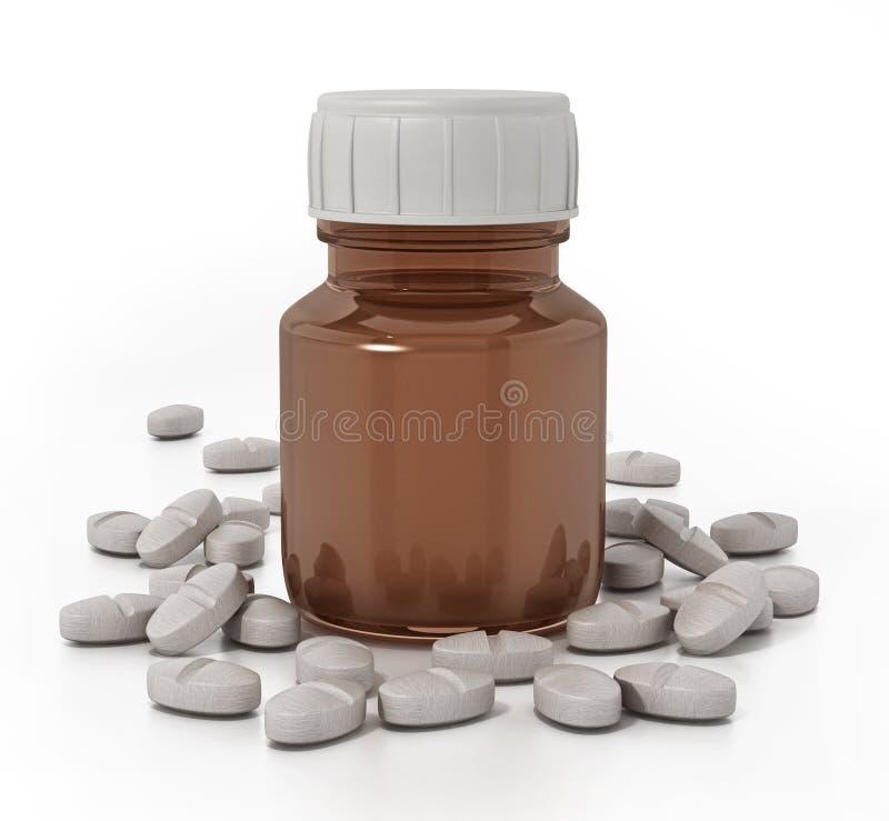 Garrafa e comprimidos da medicina no fundo branco ilustração 3D ilustração do vetor