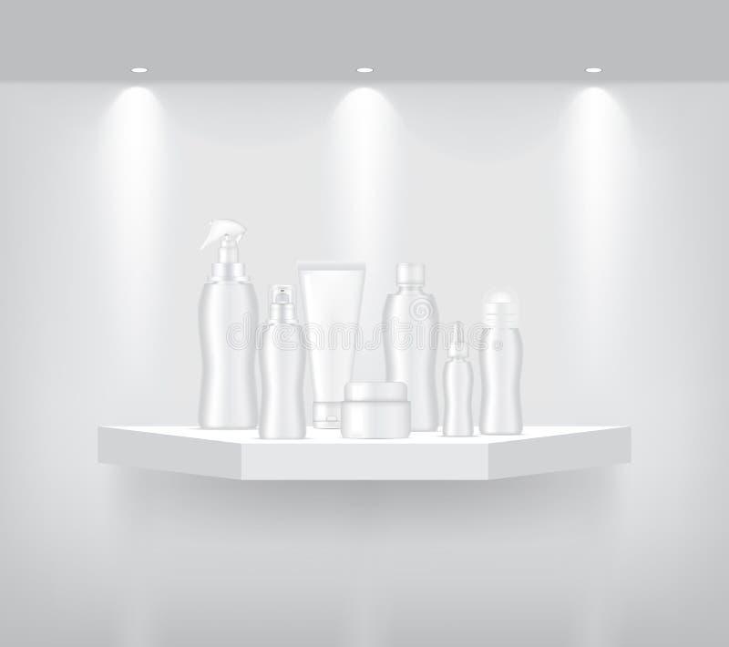 A garrafa e o tubo zombam acima na prateleira geométrica realística para que o interior mostre o produto com projetor e a sombra  ilustração royalty free