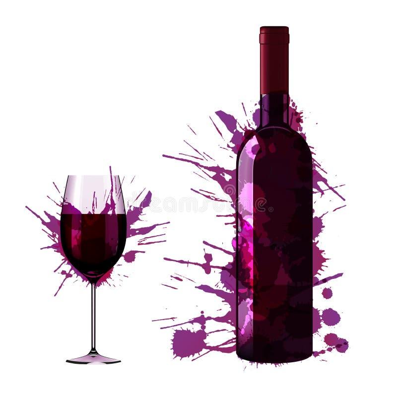 A garrafa e o vidro do vinho feitos de colorido espirram ilustração do vetor