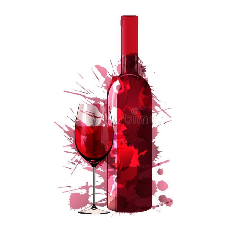 A garrafa e o vidro do vinho feitos de colorido espirram ilustração royalty free