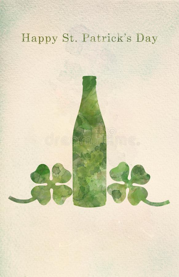 Garrafa e trevos de quatro folhas verdes de cerveja na pintura da aquarela ilustração stock