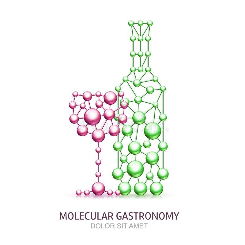 Garrafa e vidro abstratos de vinho das moléculas ilustração royalty free