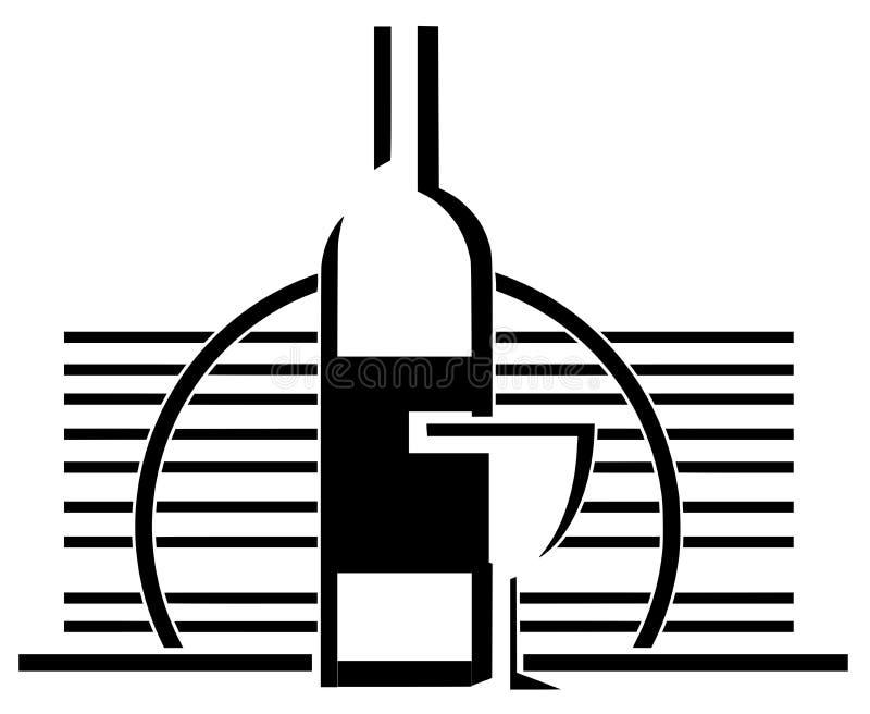 Garrafa e vidro artísticos do vinho no preto ilustração do vetor