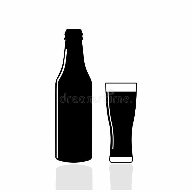 Garrafa e vidro da cerveja Símbolo da bebida do álcool Emblema para a barra, bar ilustração stock