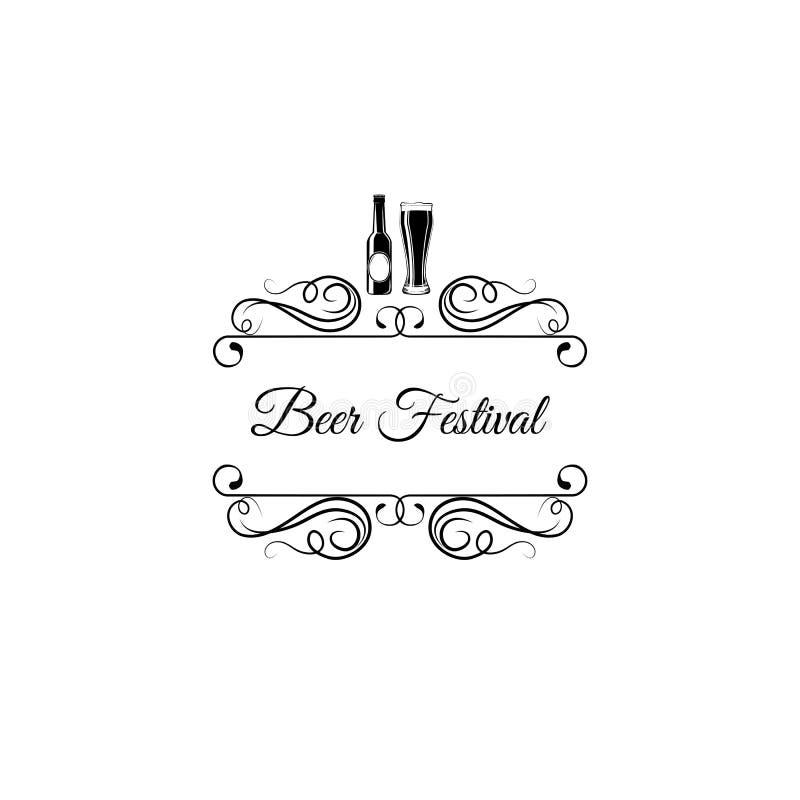Garrafa e vidro de cerveja Logotipo do festival da cerveja com redemoinhos e elementos do flourish Ilustração do vetor ilustração royalty free