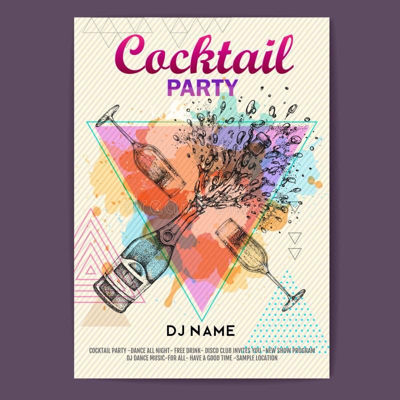 Garrafa e vidro de Champagne com respingo no fundo artístico da aquarela do polígono Cartaz do partido de disco do cocktail ilustração stock