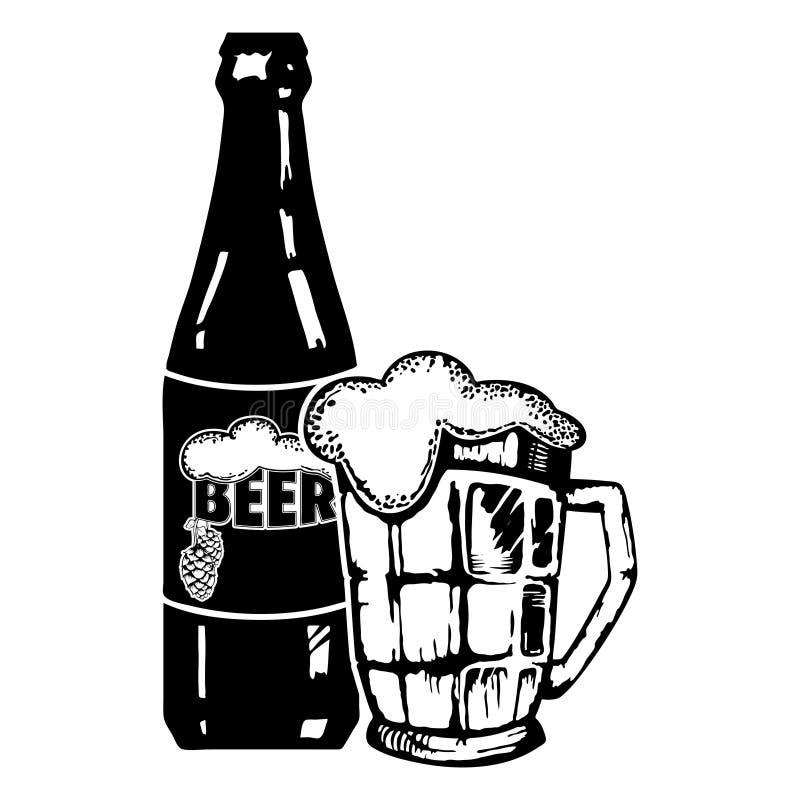 Garrafa e vidro do ícone da cerveja Cerveja e bar, símbolo da barra ilustração do vetor