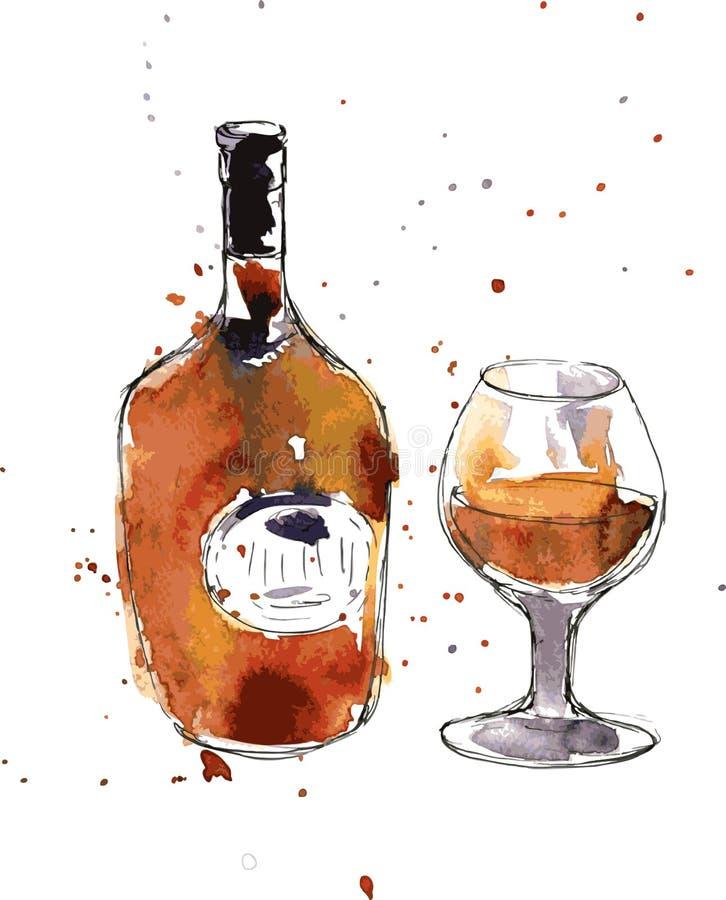 Garrafa e vidro do conhaque ilustração do vetor