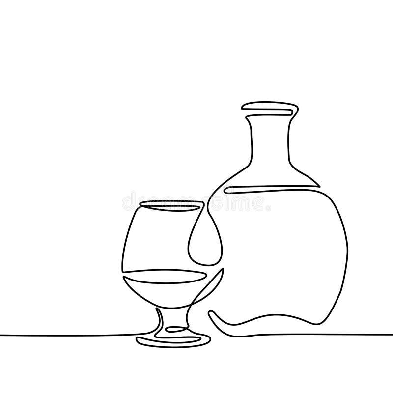 Garrafa e vidro do conhaque isolados ilustração royalty free