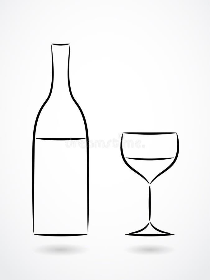 Garrafa e vidro do desenho do contorno do vinho ilustração do vetor