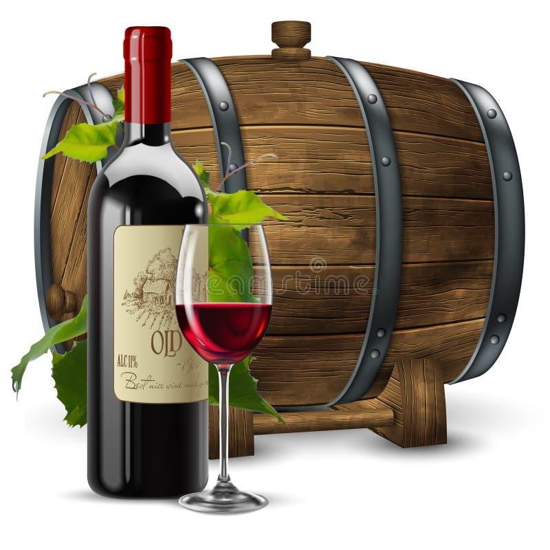 Garrafa e vidro transparente com vinho tinto em um fundo de um tambor de vinho de madeira vetor 3d A eleva??o detalhou real?stico ilustração royalty free