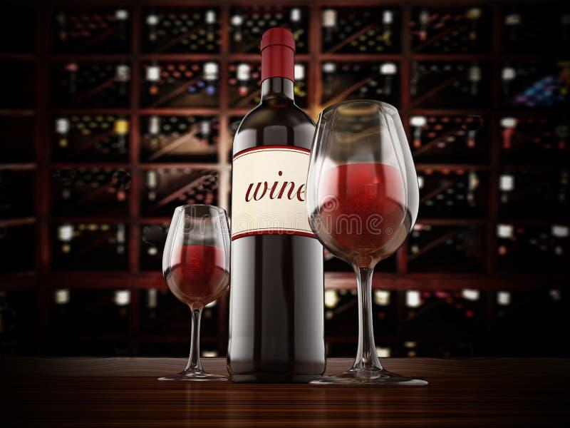 Garrafa e vidros de vinho na tabela da adega ilustração 3D ilustração do vetor