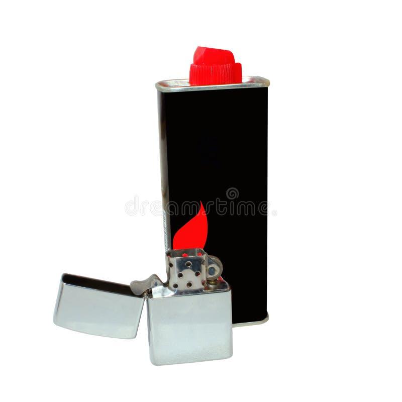 Garrafa isolada do isqueiro e de gás no fundo branco foto de stock
