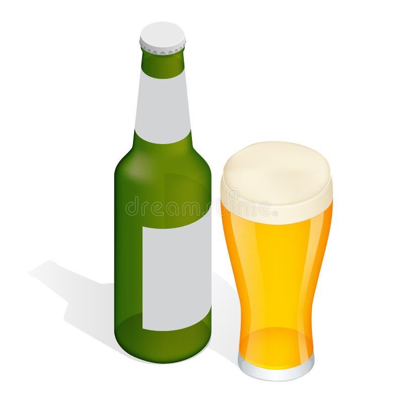 Garrafa isométrica da cerveja com gotas e vidro ilustração royalty free