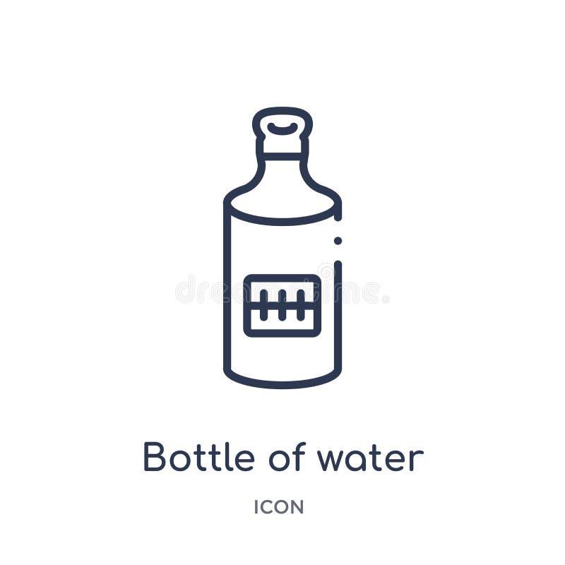 Garrafa linear do ícone da água da coleção do esboço do futebol americano Linha fina garrafa de vetor da água isolada no branco ilustração stock