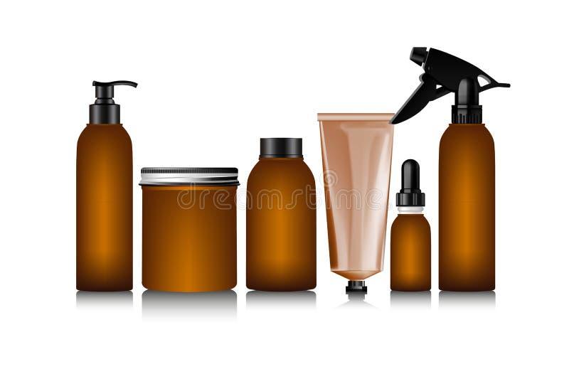 Garrafa marrom realística para o recipiente de creme cosmético ilustração stock