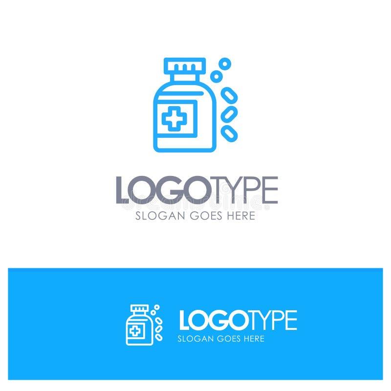 Garrafa, medicina, tabuleta Logo Line Style azul ilustração royalty free