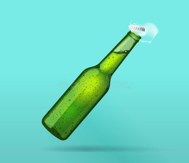 A garrafa molhada verde completa abriu com tampão do voo, bolhas, fumo ilustração stock