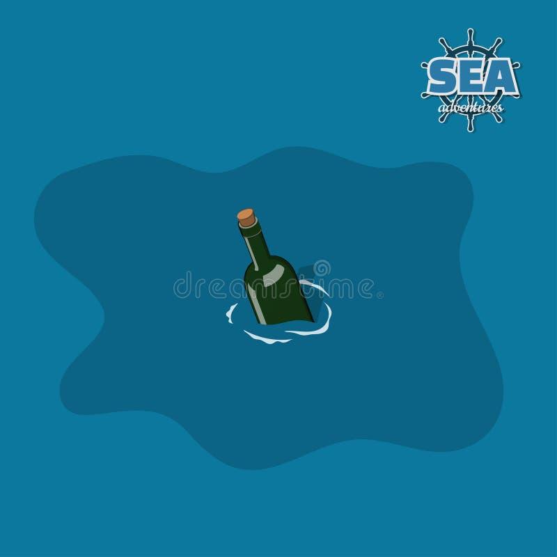Garrafa na água no estilo isométrico Jogo do pirata imagem 3d da mensagem do mar para a ajuda ilustração royalty free