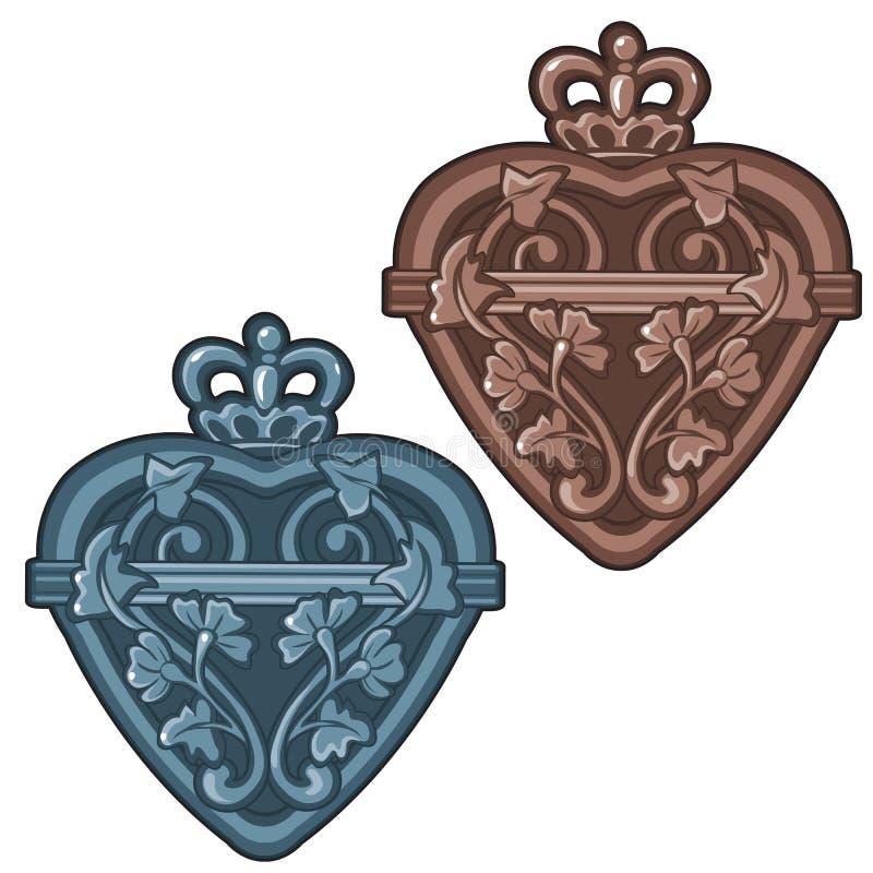 Garrafa ou talismã antiga na forma do coração com coroa real e o ornamento floral Ilustração do vetor isolada no branco ilustração stock