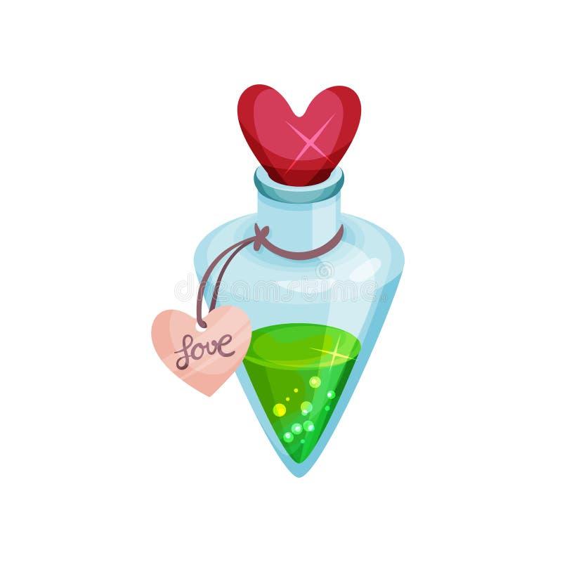Garrafa pequena com poção de amor, tampa brilhante na forma do coração Elixir mágico verde Ícone do vetor dos desenhos animados ilustração stock